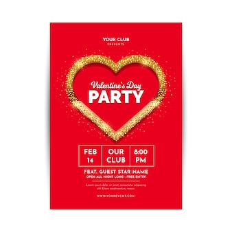Flache valentinstag party flyer / plakat vorlage