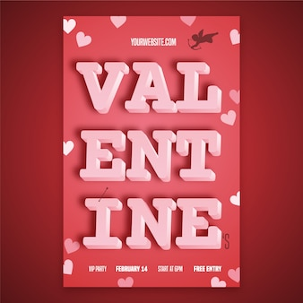 Flache valentinstag party flyer vorlage
