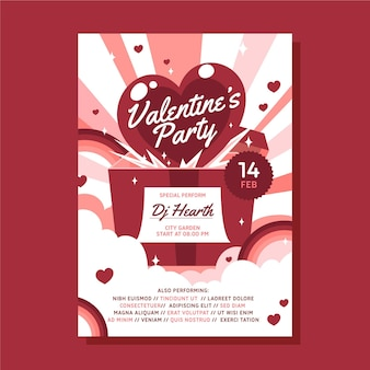 Flache valentinstag party flyer vorlage