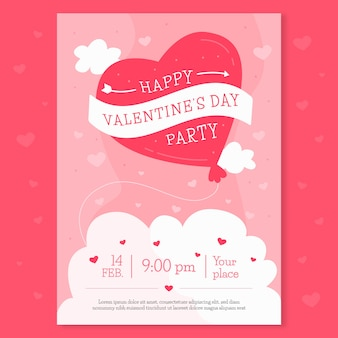 Flache valentinstag party plakat vorlage