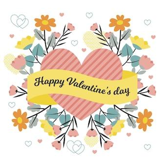 Flache valentinstag tapete mit gruß