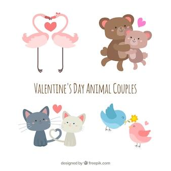 Flache valentinstag tier paar sammlung