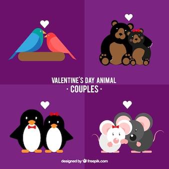 Flache valentinstag tier paare sammlung