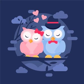 Flache valentinstag tierpaare