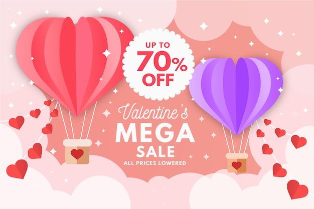 Flache valentinstag verkauf banner