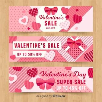 Flache valentinstag-verkaufsfahne