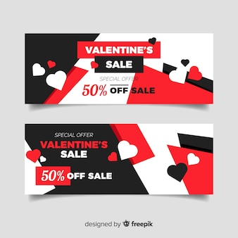 Flache Valentinstag-Verkaufsfahnen