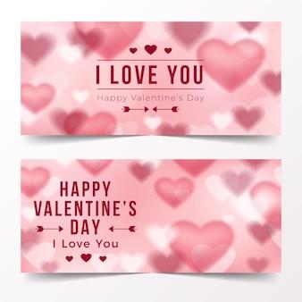 Flache valentinstagbanner