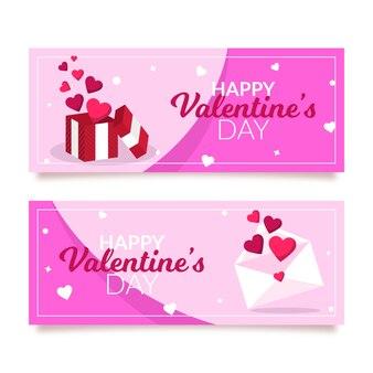 Flache valentinstagfahnen eingestellt