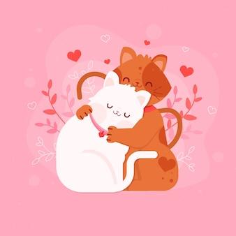 Flache valentinstagkätzchenpaare