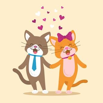 Flache valentinstagkatzenpaare