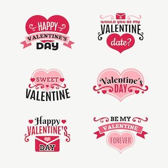 Flache valentinstagsabzeichen-sammlung