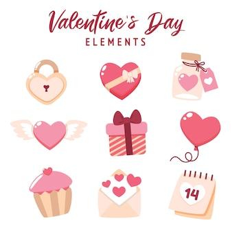 Flache valentinstagselementsammlung mit niedlicher illustration