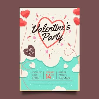 Flache valentinstagspartyplakatschablone
