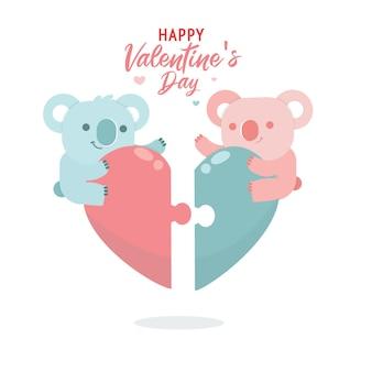 Flache valentinstagssammlung mit niedlicher illustration