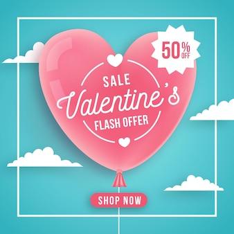 Flache valentinstagsverkaufsaktion