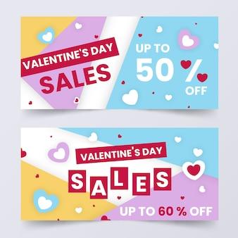 Flache valentinstagverkaufsfahnen