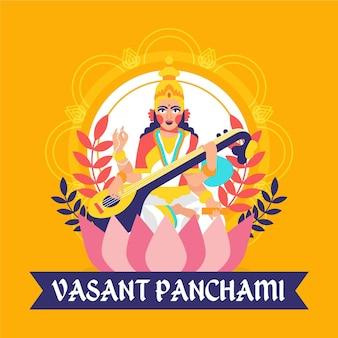Flache vasant panchami illustriert