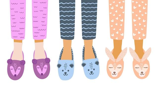 Flache vektor-cartoon-illustration von kinderfüßen im pyjama-hausschuhe.