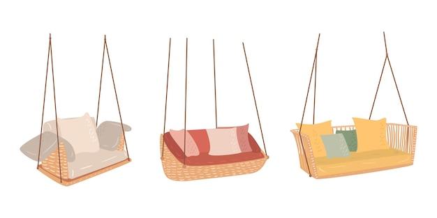 Flache vektor-cartoon-reihe von hängenden sofas. stilvolles objekt für haus, terrasse und garten.