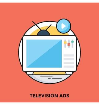 Flache vektor icon der fernsehwerbung