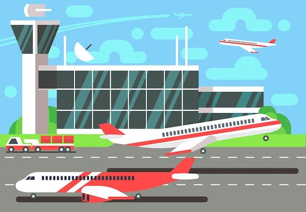 Flache vektor-illustration des flughafens