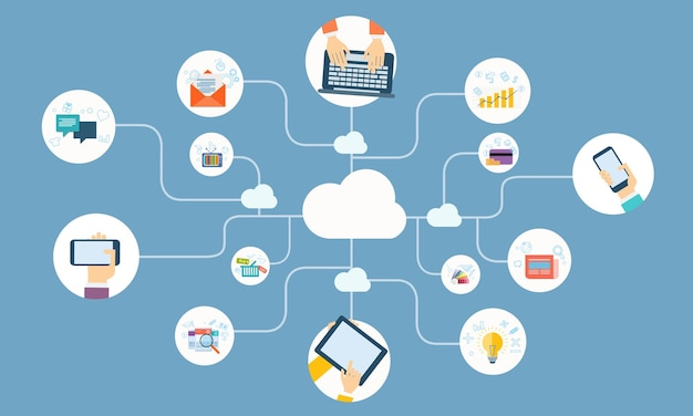 Flache vektor-illustration design business cloud-netzwerkverbindung online-konzept