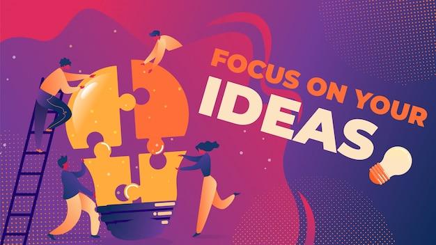 Flache vektor-illustration fokus auf ihre ideen.