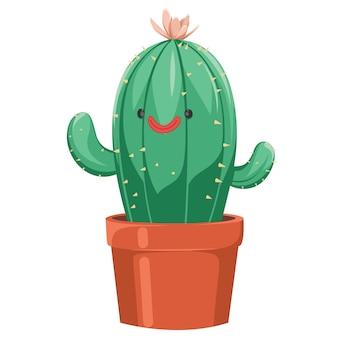 Flache vektor-kaktus-blumen-succulents stachelig
