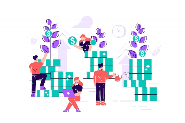 Flache vektor kreative illustration von geschäftsgrafiken, ist das unternehmen in der gemeinsamen konstruktion und kultivierung von geldgewinnen, karrierewachstum zum erfolg beschäftigt