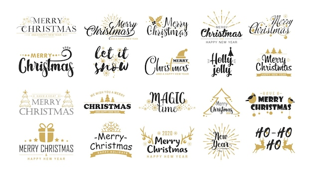 Flache vektoraufkleber der weihnachtsgrüße gesetzt. weihnachtsbotschaften, festliche sätze, wintersymbole.
