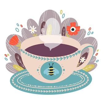 Flache vektorfarbkarikaturillustration der kaffeetasse auf untertasse mit blumen im gekritzelstil. eine tasse tee illustration.
