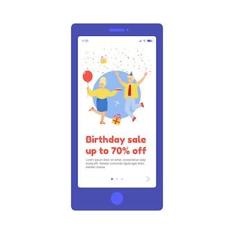 Flache vektorgrafik der mobilen app-schnittstelle auf dem telefonbildschirm mit geburtstagsverkauf