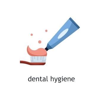 Flache vektorgrafik eines quetschens der zahnpasta auf die zahnbürste. zahnhygiene
