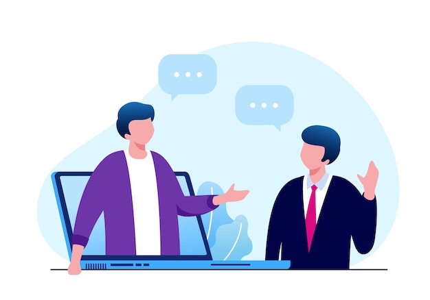 Flache vektorgrafik für online-meeting oder videokonferenzkonzept für banner-landingpage landing
