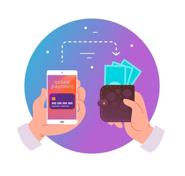 Flache vektorgrafik für online-zahlungen und transaktionen mit menschlicher hand, die smartphone mit kreditkarte auf dem bildschirm und geldbörse mit bargeld hält. perfekt für mobile app-banner, landing-page-design.