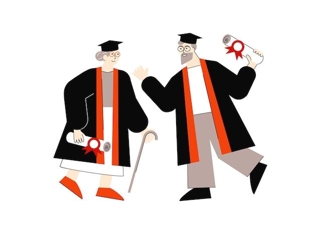 Flache vektorgrafik von zwei älteren absolventen mit diplomen und hüten