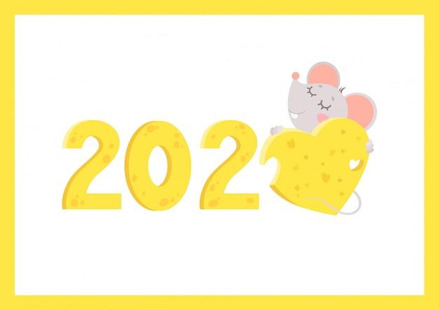 Flache vektorgrußkarte des neuen jahres 2020 mit mäuseschablone