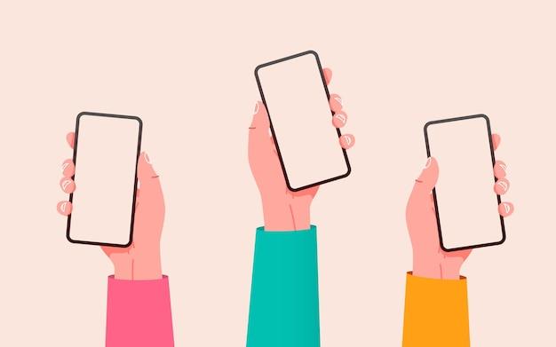 Flache vektorhände mit telefonhänden, die telefone mit leeren bildschirmen halten, verspotten soziale medien
