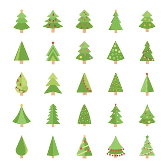 Flache vektorikonen der weihnachtsbäume