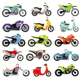 Flache vektorikonen des klassischen motorradmotorrads. satz geschwindigkeitsmotorrad, illustrationssatz von motobik