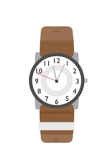 Flache vektorillustration der armbanduhr. modernes accessoire, stilvoller artikel. klassisches farbgestaltungselement für armbanduhren. zeitzähler, zeitgenössische armbanduhr isoliert auf weißem hintergrund.