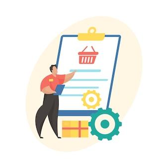 Flache vektorillustration der auftragsabwicklung. symbol für den status der mobilen shopping-anwendung. stufe des e-commerce-service. store mitarbeiter bearbeitet bestellung