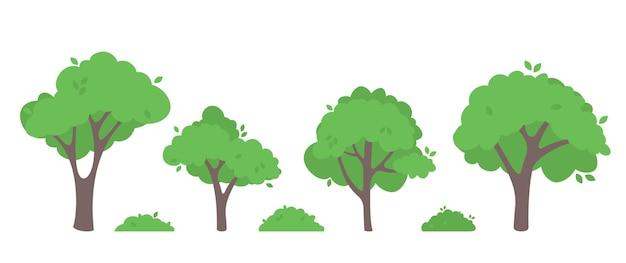 Flache vektorillustration der grünen bäume.