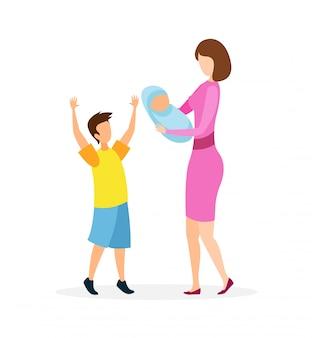 Flache vektorillustration der jungen dame mit kindern