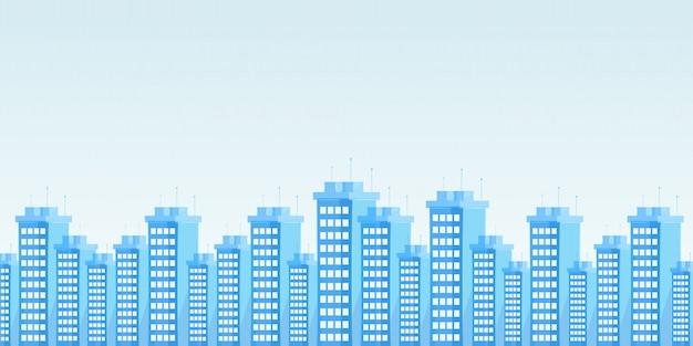 Flache vektorillustration der modernen städtischen skyline