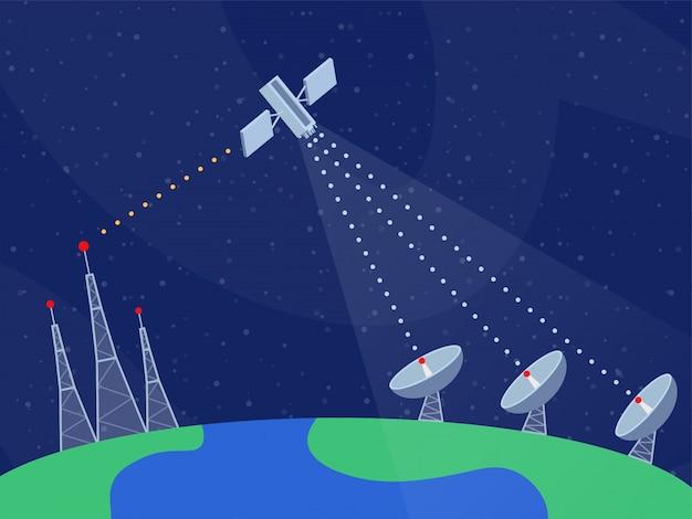 Flache vektorillustration der modernen telekommunikationstechnologie