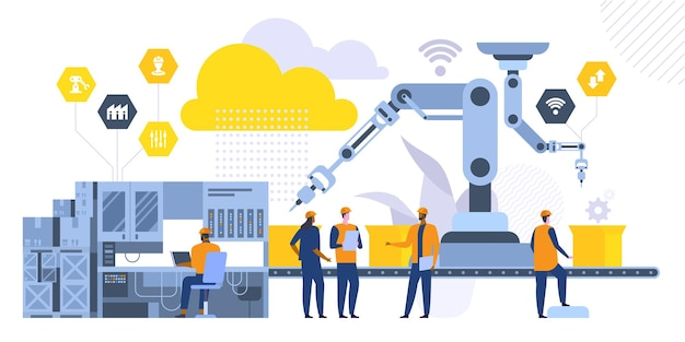 Flache vektorillustration der robotermaschinen. fabrikarbeiter, ingenieure zeichentrickfiguren. hightech-fertigungstechnologien. mitarbeiter stehen in der nähe des fließbandes. konzept der industriellen revolution