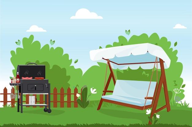 Flache vektorillustration der terrasse hinterhof des hauses mit bbq-veranda-schaukelbank mit seilen