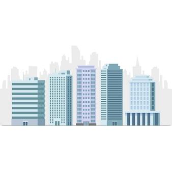Flache vektorillustration des büro- und hotelgebäudewolkenkratzers